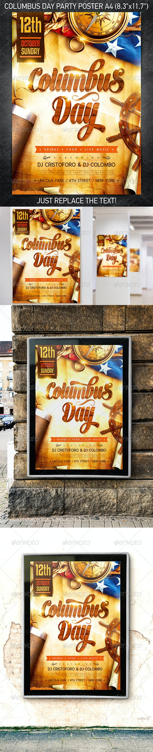Columbus Day Party Poster - Events Flyers