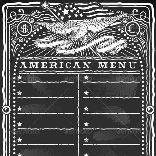 Vintage Graphic Blackboard for American Menu