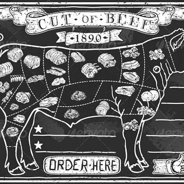 Vintage Graphic Blackboard for Butcher Shop