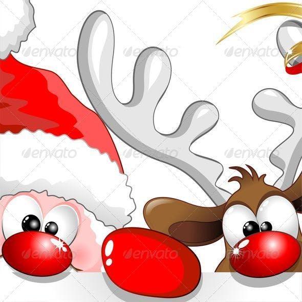 Christmas Santa and Reindeer Cartoon