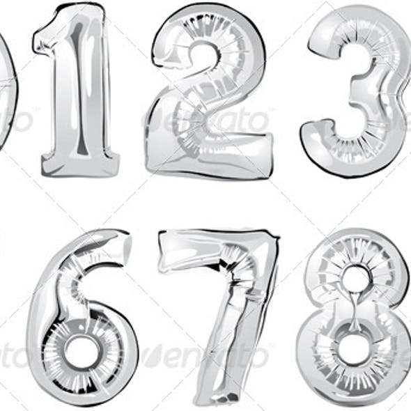 Shiny Silver Number Balloons