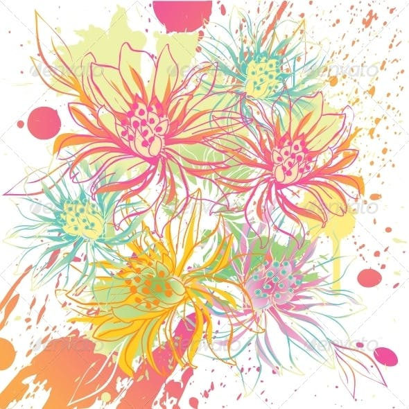 Abstract Vector Flower Background