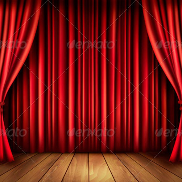 Background with Red Velvet Curtain and a Wooden Floor