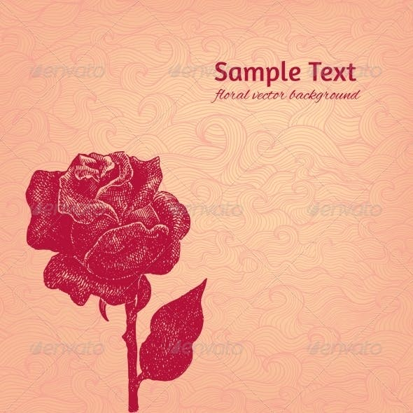 Vintage Vector Background with Stylized Ink Rose