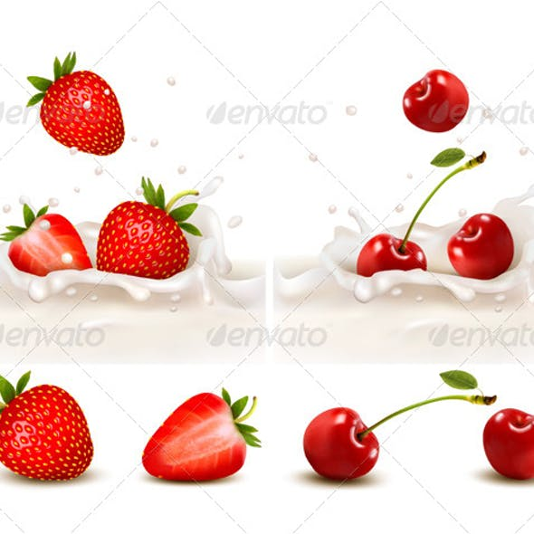 Red Strawberry and Cherries Fruits