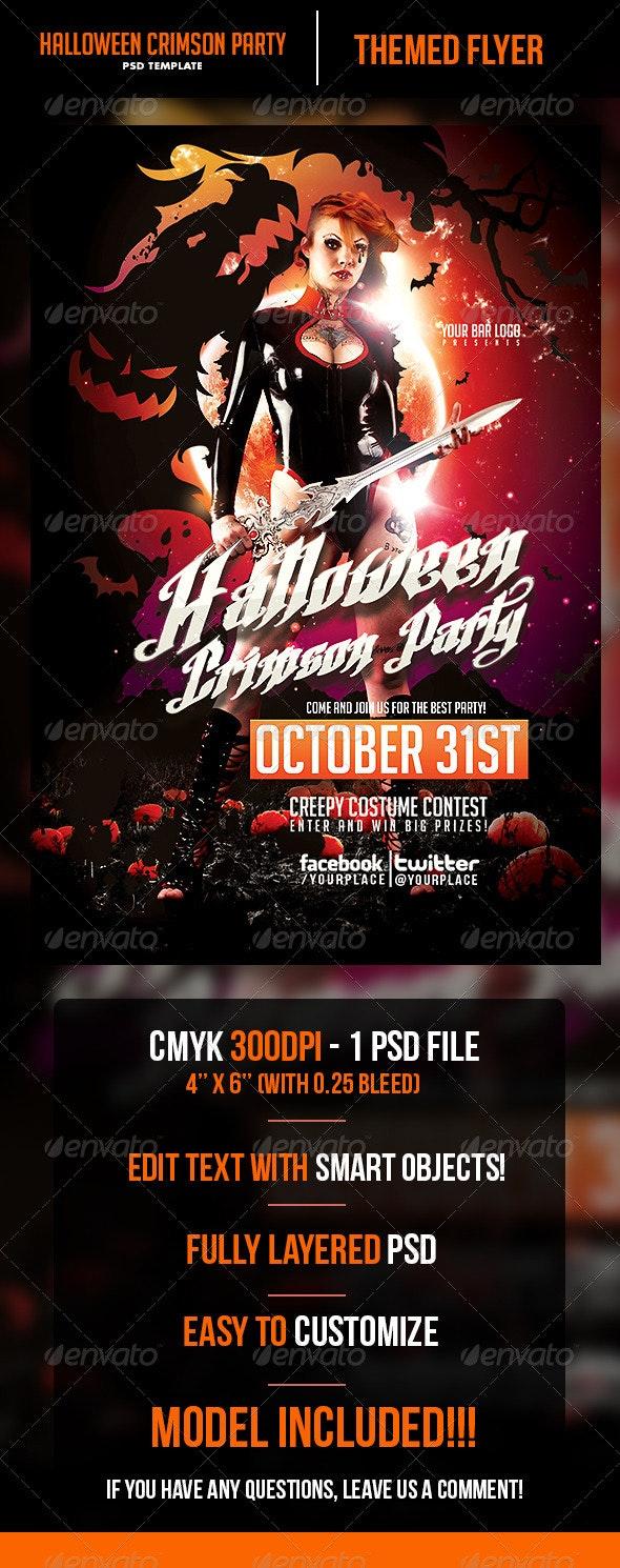 Halloween Crimson Party Flyer Template - Print Templates