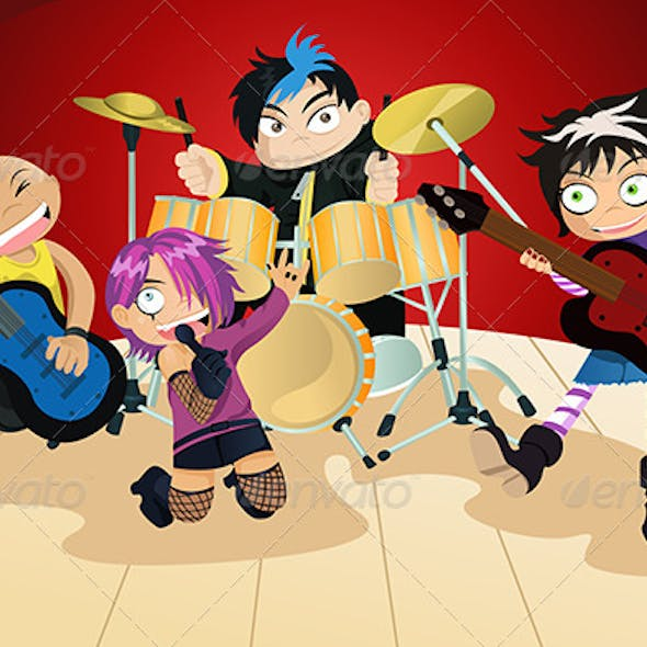 Rock Band of Four Little Kids