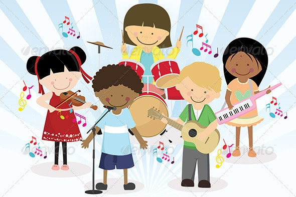 Music Band of Four Little Kids - People Characters