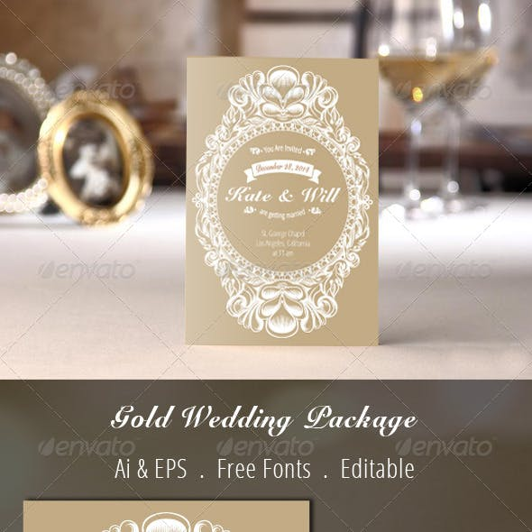 Gold Wedding Invitation Package