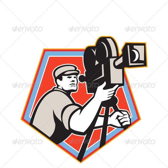 Cameraman Vintage Film Reel Camera Retro