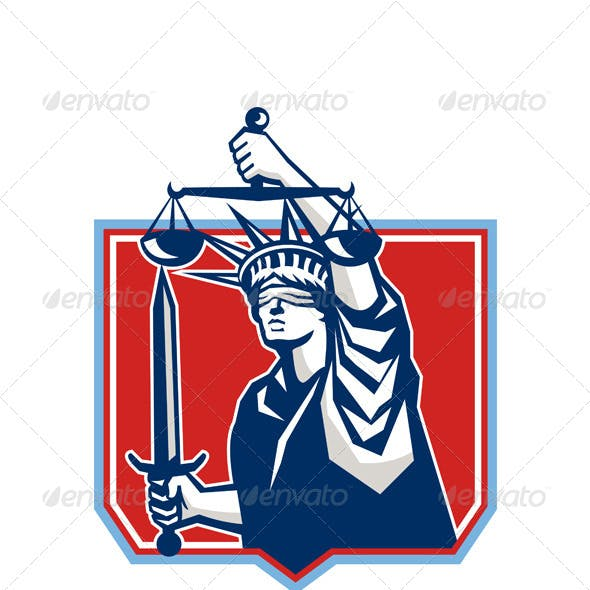 Statue of Liberty Wielding Sword and Scales