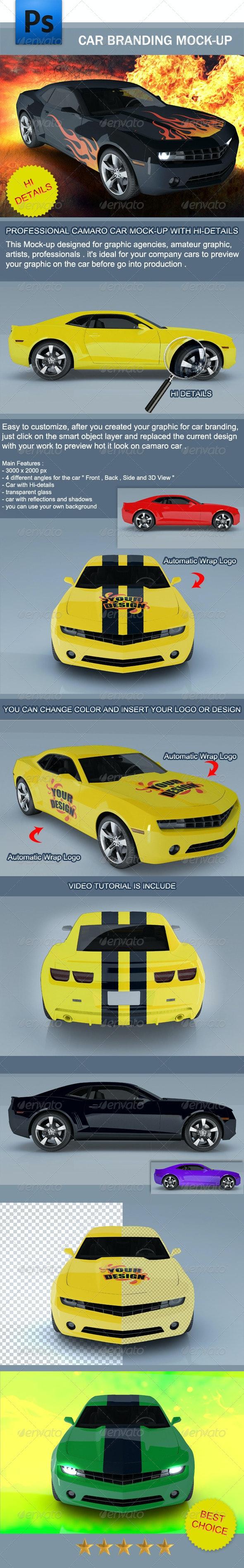 Camaro Car Branding Mock-up - Product Mock-Ups Graphics