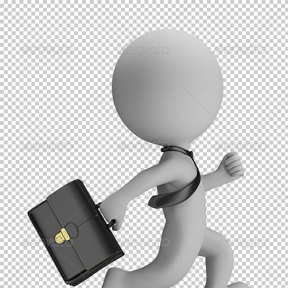 3D Small People - Businessman Running
