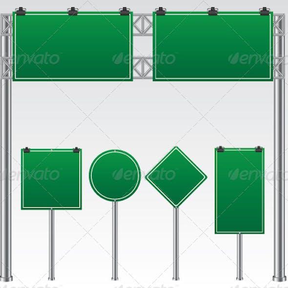 Green Road Sign Illustration