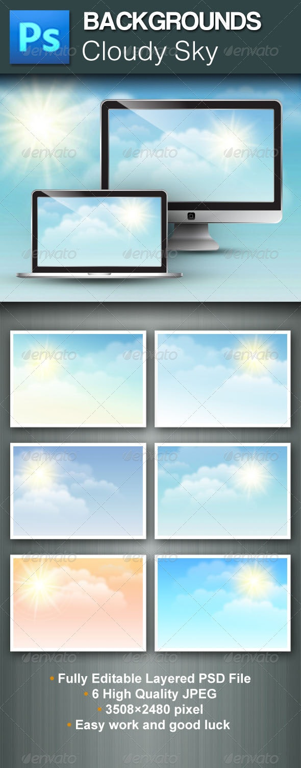 Cloudy Sky PSD Backgrounds - Nature Backgrounds