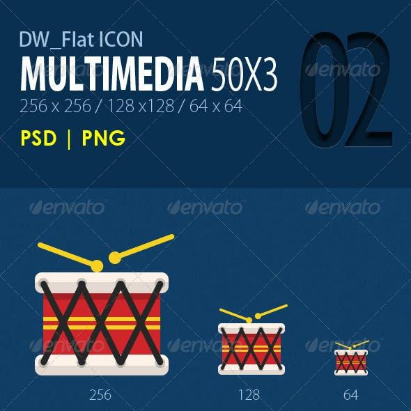 50 Flat Icons (Multimedia)