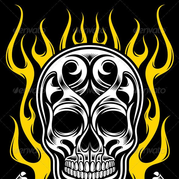 Ornate Flame Skull Tattoo
