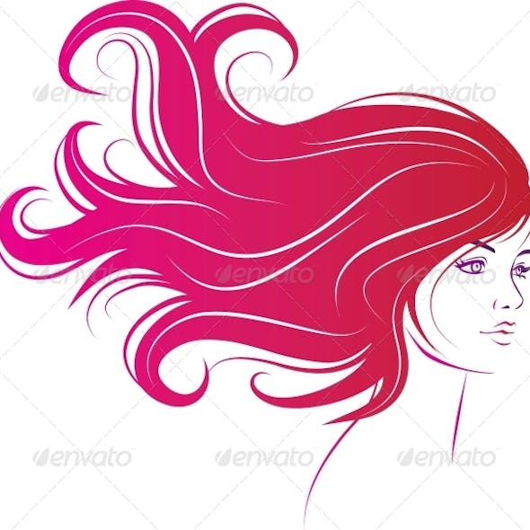Woman Face with Long Hair