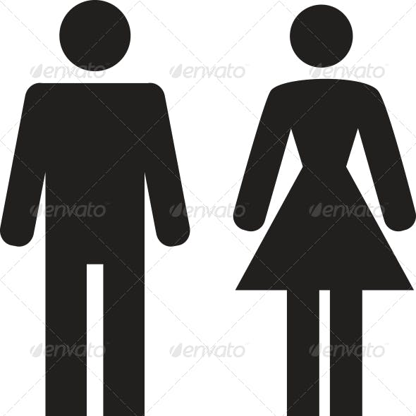 Vector Man and Woman Icon on white background
