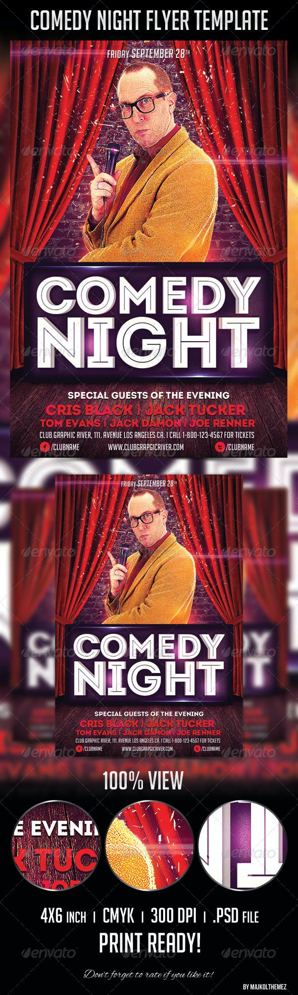 Comedy Night Flyer Template Print Templates