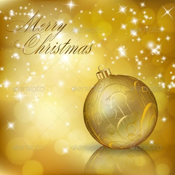 Golden Merry Christmas Greeting Card
