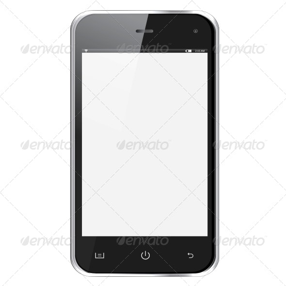 Realistic Mobile Phone with Blank Screen - Abstract Conceptual