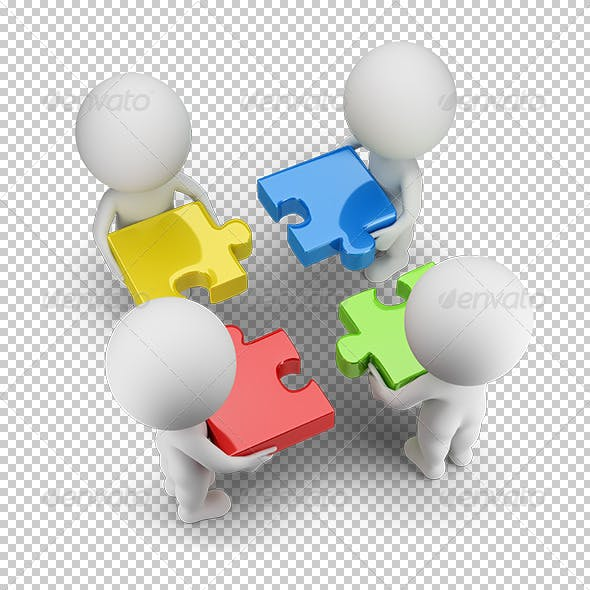 3D Small People - Team with the Puzzles