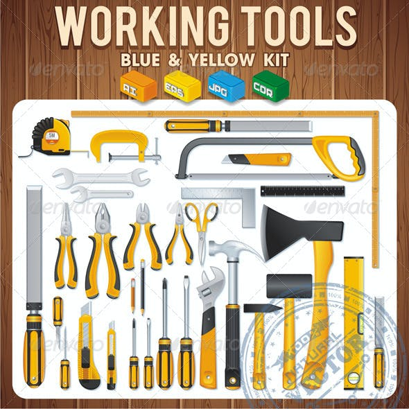 Work Hand Tools. Vector Icons