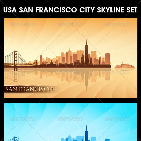 San Francisco USA City Skyline Silhouettes Set