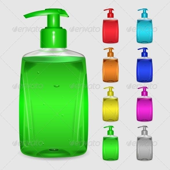 Set of Multicolored Bottles of Liquid Soap
