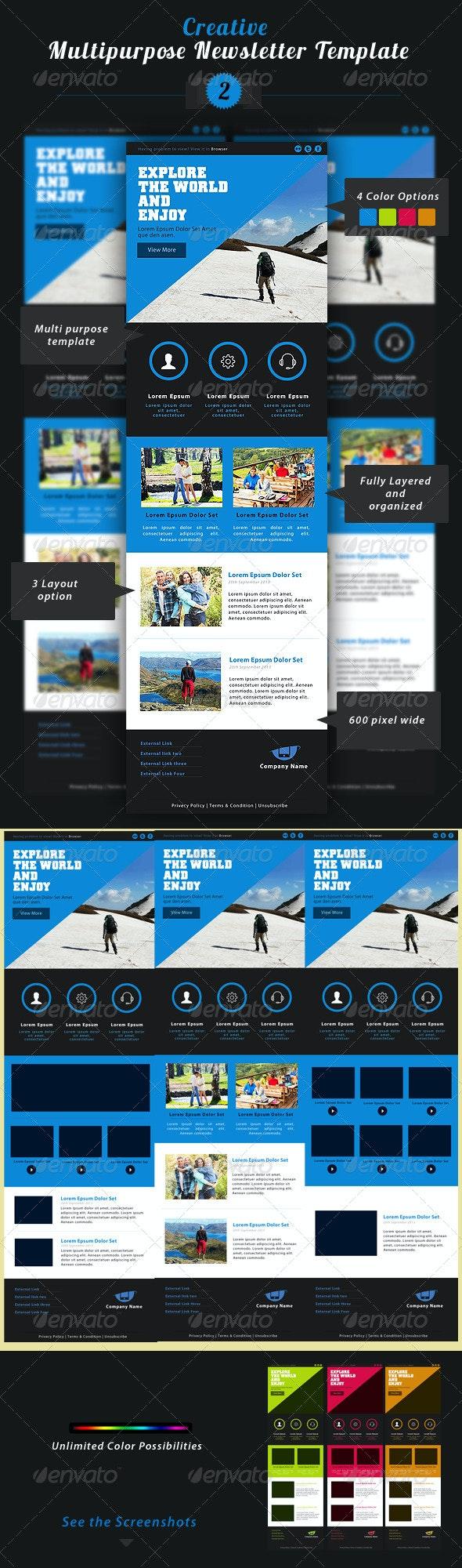 Creative Multipurpose Newsletter PSD Template 2 - E-newsletters Web Elements
