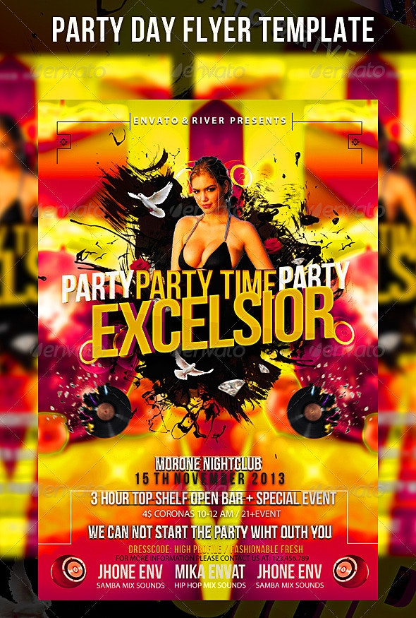 Party Day Flyer Template - Events Flyers
