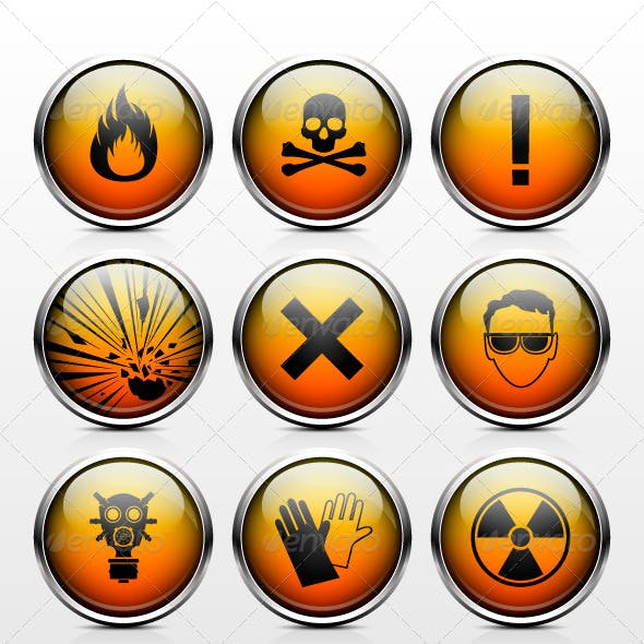 Icons warning of the dangers