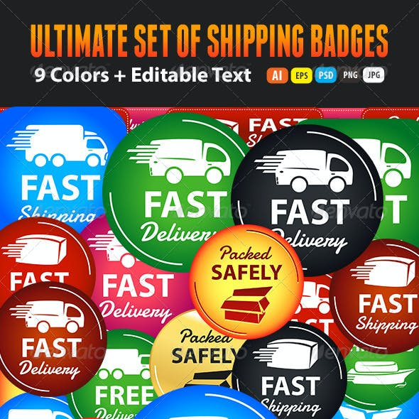 Large Set Of Shipping And Delivery Badges