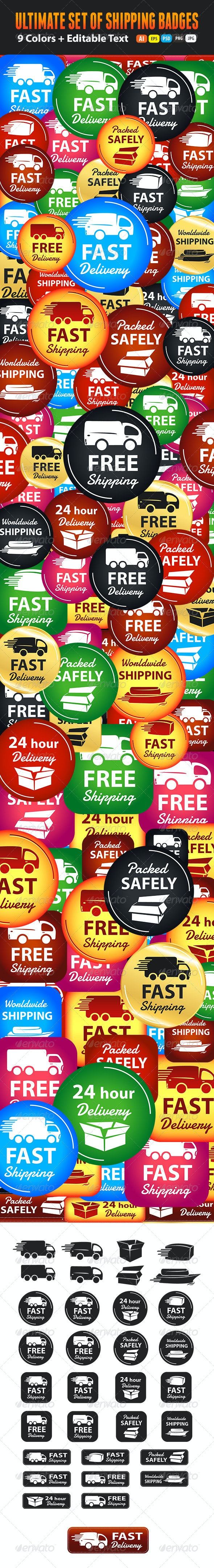 Large Set Of Shipping And Delivery Badges - Badges & Stickers Web Elements
