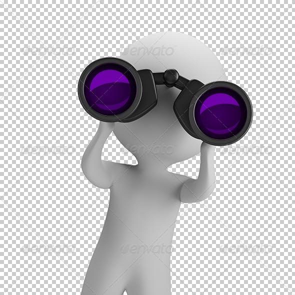 3D Small People - Looking Through Binoculars