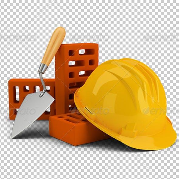 Helmet with Bricks and Trowel