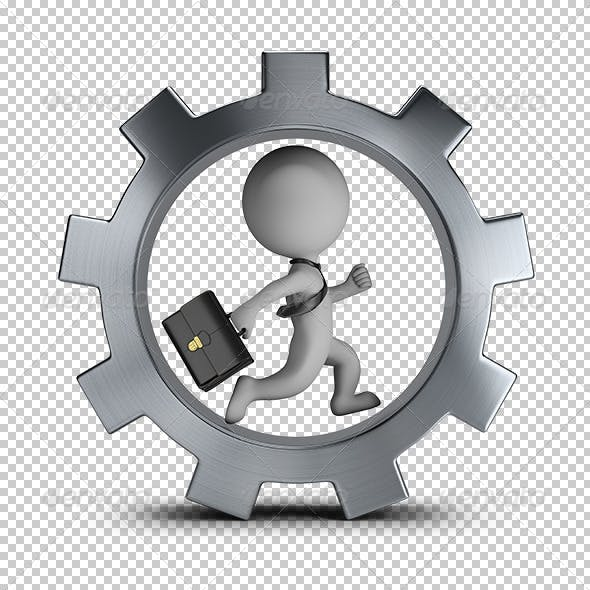 3D Small People - Businessman in the Gear Wheel