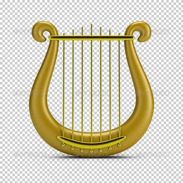 Golden Harp - Objects 3D Renders