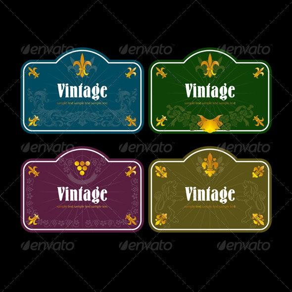 Vintage Wine Labels Set - Flourishes / Swirls Decorative