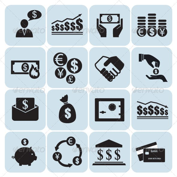 Set of 16 Money and Finance Icons