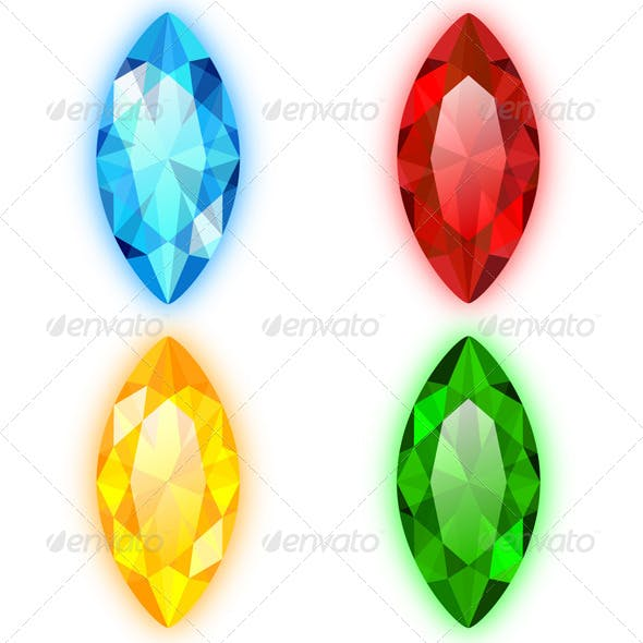Four Gems Marquise Shaped