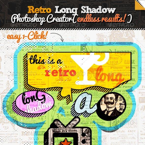 Retro Long Shadow Photoshop Creator