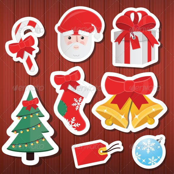 Vector Christmas Stickers Icons Set