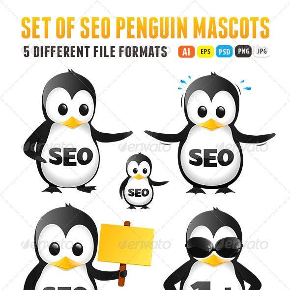 Set of SEO Penguin Mascots
