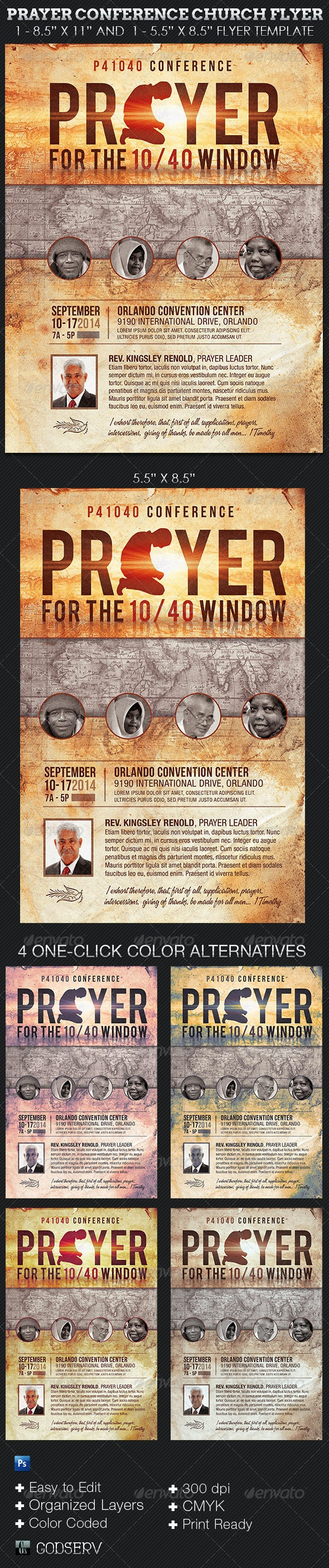 Prayer Conference Church Flyer Template - Church Flyers