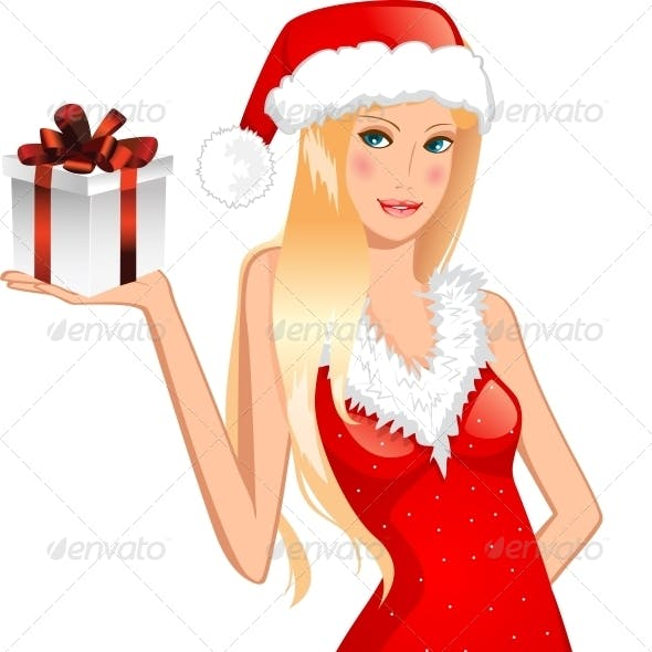 Girl in a Christmas Hat