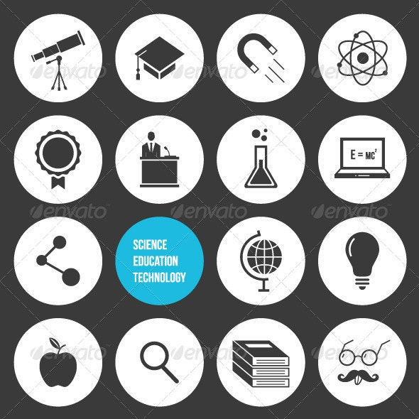 Vector Science Education and Technology Icons Set - Technology Icons