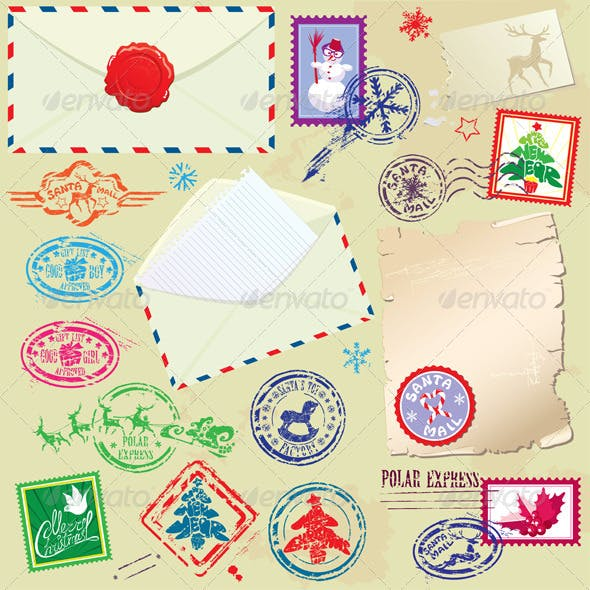 Collection of Christmas Stamps Envelops Labels
