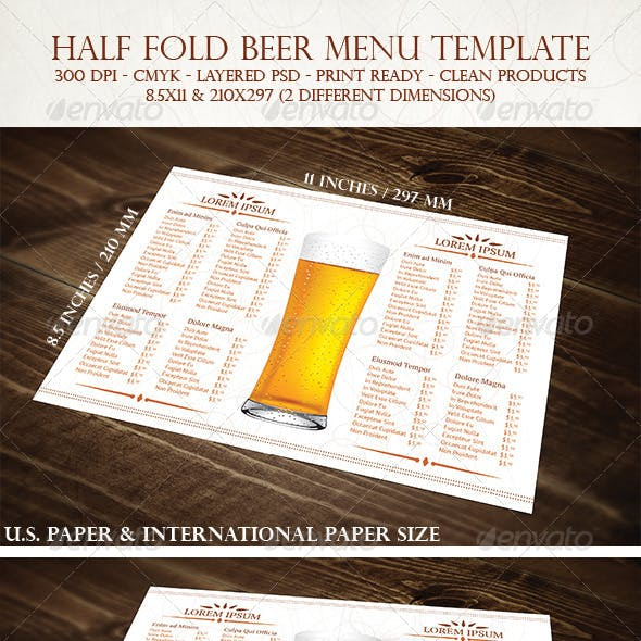 Half Fold Beer Menu Template